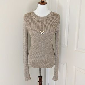 Theory Ribbed Metallic Pullover Sweater